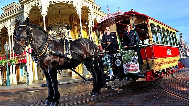 attraction horsedrawn streetcars cheval tram disneyland paris