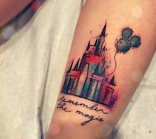 tatouage disney chateau ballon mickey