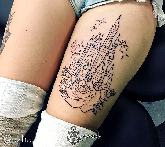 tatouage disney chateau cuisse rose