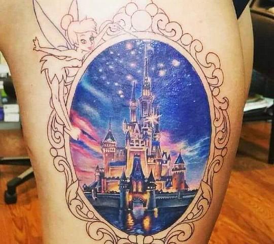 tatouage disney chateau fee clochette cadre