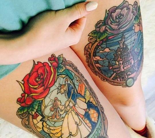 tatouage disney chateau rose belle bete
