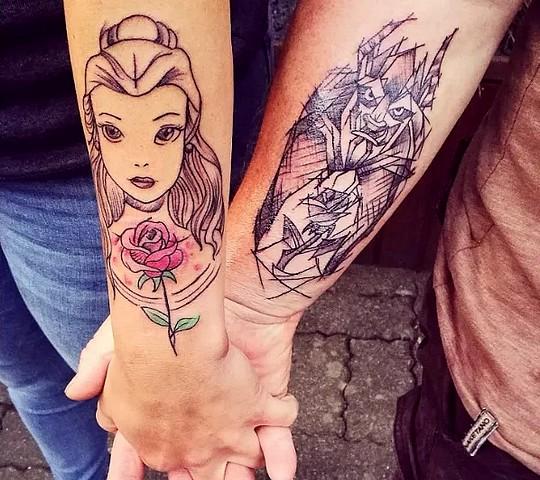 tatouage disney couple princesse belle et la bete