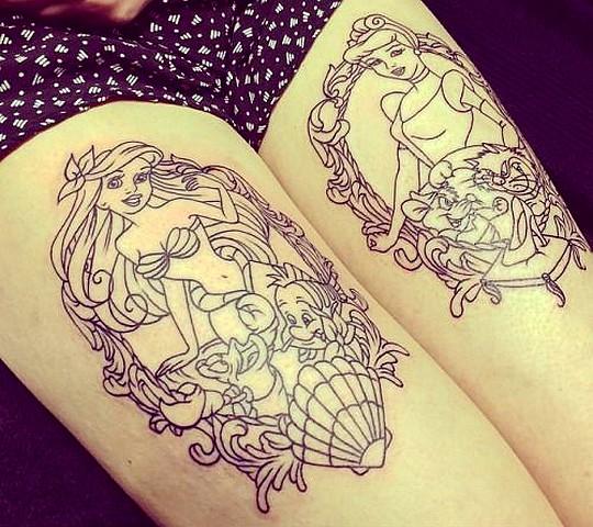 tatouage disney princesse ariel belle femme jambe