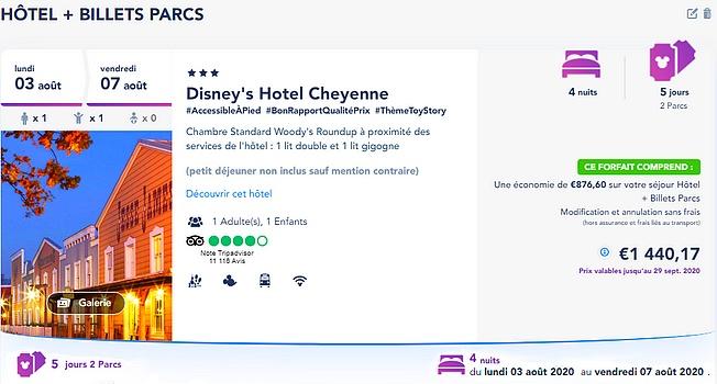 réserver un séjour à disneyland paris acheter un forfait billet d'entrée + hôtel