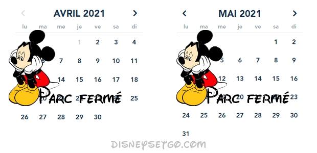 Calendrier des horaires du parc Disneyland et Walt Disney Studios