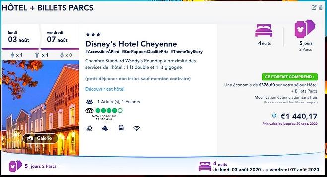 Réservation d'un forfait hôtel + billet d'entrée à Disneyland Paris