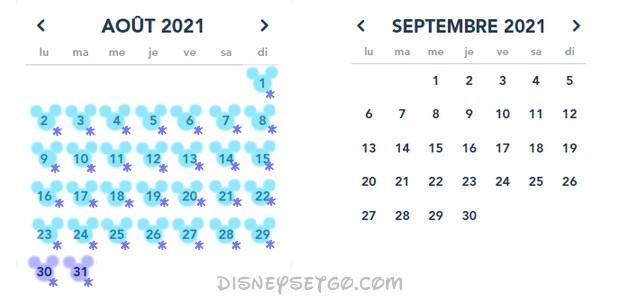 Calendrier des horaires du parc Disneyland