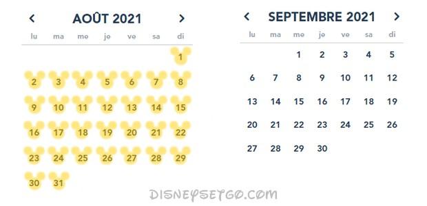 Calendrier des horaires du parc Walt Disney Studios